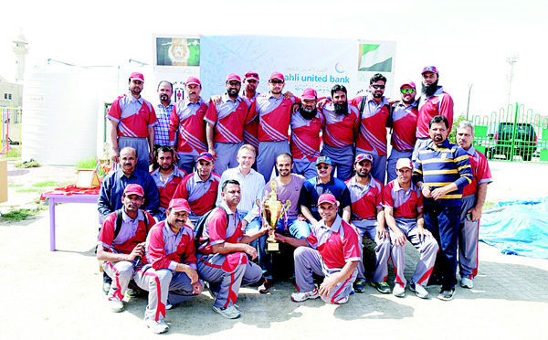 Boubyan Cricket Team — winners of AUB Cup final with sponsors and Kuwait Cricket officials