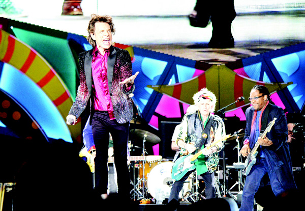 British singer and frontman of rock band The Rolling Stones Mick Jagger performs during a concert at Ciudad Deportiva in Havana, Cuba, on March 25. (AFP)