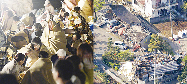 (Left) Residents take shelter outside the town hall of Mashiki. (Right) This aerial photo shows houses damaged by a magnitude-6.5 earthquake in Mashiki