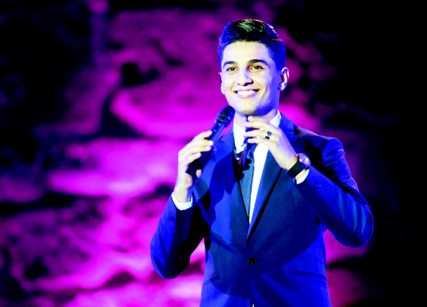 This file photo taken on July 26, 2015 shows Palestinian singer Mohammed Assaf as he performs on stage during the 51st session of the Carthage International Festival at the Roman Theatre in Carthage. (AFP)