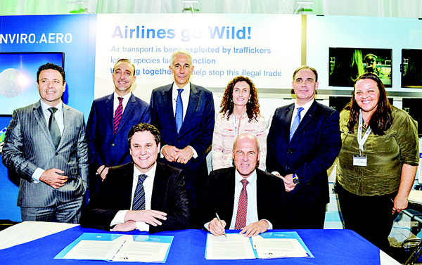 From left to right (front row, seated) are Peter Baumgartner, Chief Executive Office of Etihad Airways, and Stefan Pichler, Chief Executive Officer of airberlin and left to right (top row), are Cramer Ball, Chief Executive Officer of Alitalia, Dance Kondic, Chief Executive Officer of Air Serbia, Tony Tyler, Director General IATA, Jane McKeon, Group Executive Government Relations Virgin Australia, Roy Kinnear, Chief Executive Officer of Air Seychelles, and Naomi Doak, United for Wildlife representative, at Ballsbridge, Dublin after the five Etihad Airways equity partners – Alitalia, airberlin, Air Serbia, Air Seychelles and Virgin Australia – signed the Declaration of the United for Wildlife International Taskforce on the Transportation of Illegal Wildlife Products at the 2016 IATA Annual General Meeting.