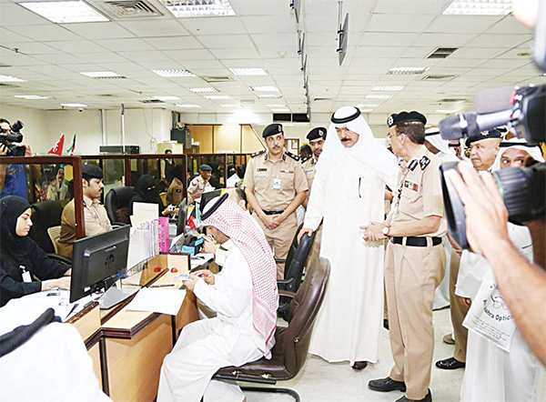 Deputy Prime Minister and Interior Minister Sheikh Mohammad Al-Khaled Al-Sabah on a tour of General Department of Citizenship and Travel Documents
