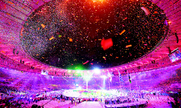 Dancers perform during the closing ceremony of the Rio 2016 Olympic Games at the Maracana Stadium in Rio de Janeiro on Aug 21. (AFP)