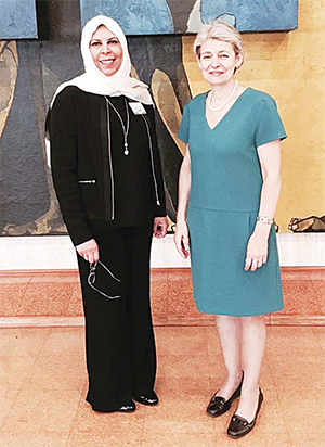 Dr Manal Bouhaimed meets with Irina Bokova, UNESCO Director-General (right).
