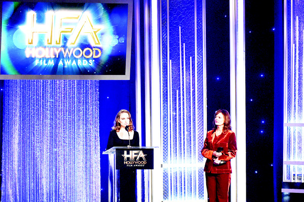 Actress Natalie Portman, recipient of the 'Hollywood Actress Award' for 'Jackie' (left), and presenter Susan Sarandon speak onstage at the 20th Annual Hollywood Film Awards at The Beverly Hilton Hotel on Nov 6, in Beverly Hills, California.