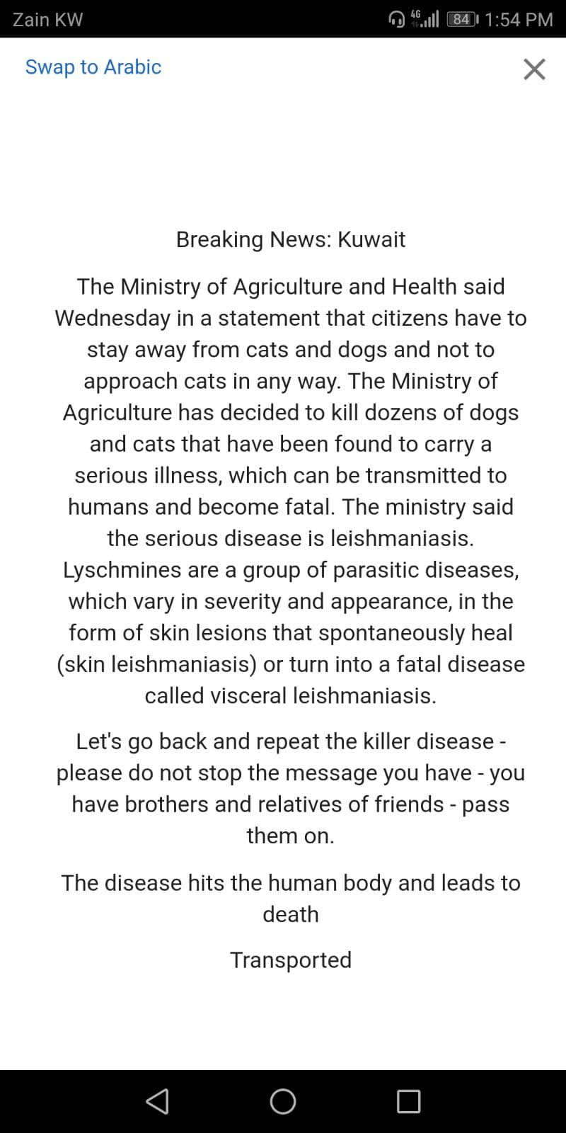 Leishmaniasis in Kuwait - Its FAKE NEWS - ARAB TIMES - KUWAIT NEWS