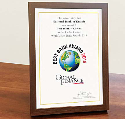NBK named Best Bank in Kuwait 2018 - Bank recognized by Global