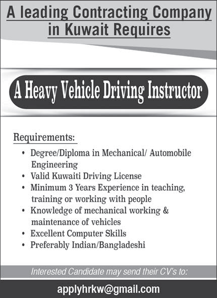 Required Heavy Vehicle Driving Instructor - ARAB TIMES
