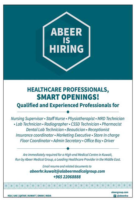 Vacancies at Abeer Healthcare - ARAB TIMES - KUWAIT NEWS
